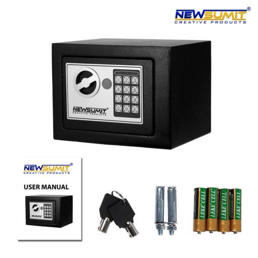 caja fuerte negra newsumit con accesorios