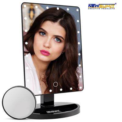 Espejo maquillaje newsumit 1x y 10x 24 led usb negro
