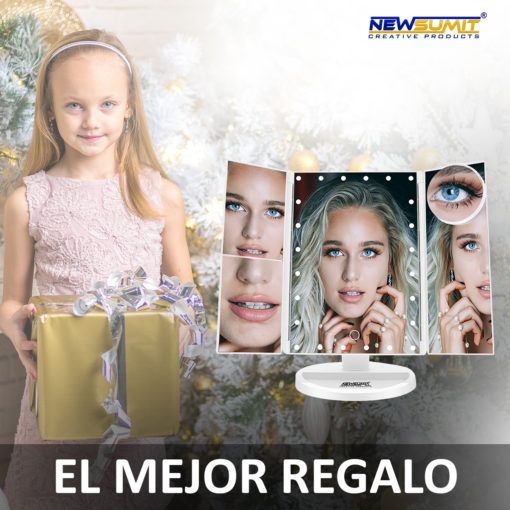 espejo maquillaje newsumit triptico color blanco regalo